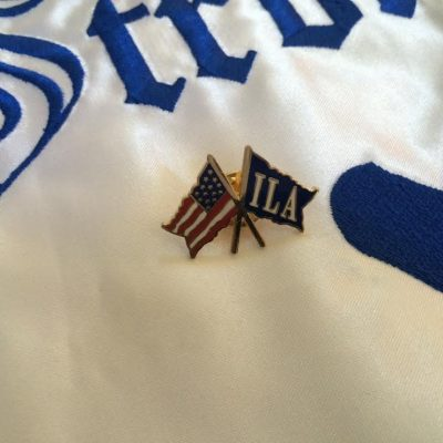 USA Flag and ILA Flag crossed Lapel Pin