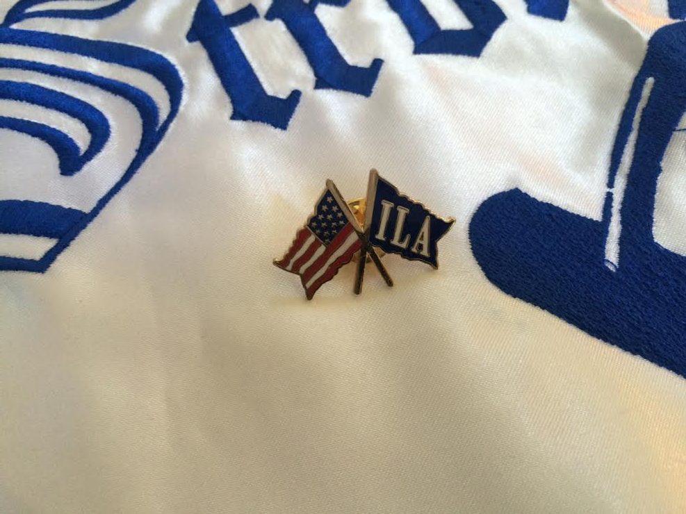 USA Flag and ILA Flag crossed Lapel Pin
